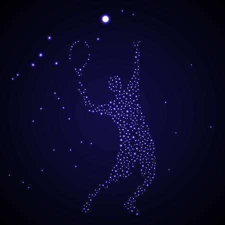 Abstracte tennisser sterren silhouet schoppen bal Stock Illustratie