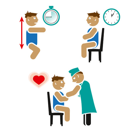physical exam: Illustration of a Kid Squatting during cardiovascular test