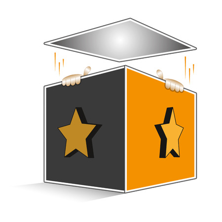 Open volumetric box with cartoon hands of Jack coming out Vector