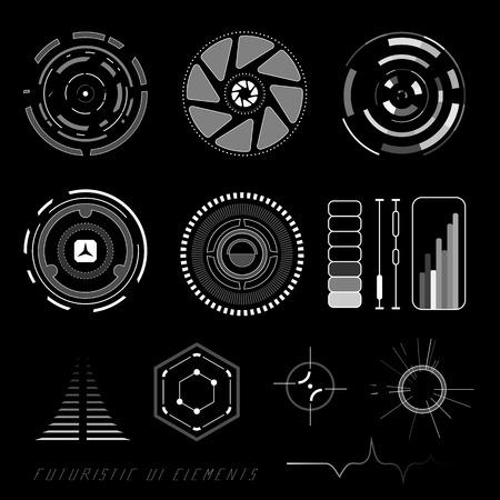 tablero de control: La interfaz de usuario táctil virtual futurista de ciencia ficción de los elementos del HUD Vectores