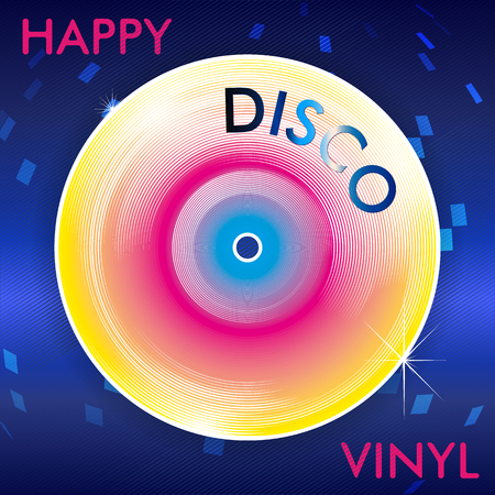 modish: Colorful Abstract Retro Disco Vinil Illustration with Mirror Ball Spots