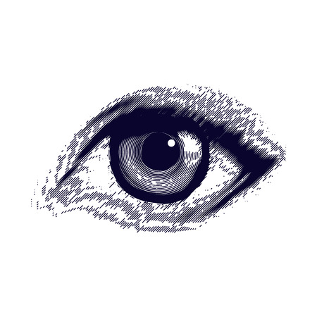 Vector illustratie van het menselijk oog in vintage gegraveerde stijl