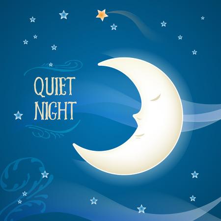 estrella caricatura: Luna Bonita caricatura durmiendo en el cielo nocturno con estrellas Vectores