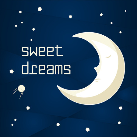 people sleeping: Pretty cartoon moon sleeping in the night sky with stars Illustration
