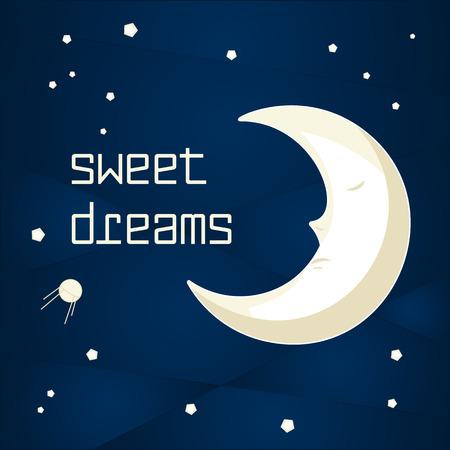 Pretty cartoon moon sleeping in the night sky with stars Illustration