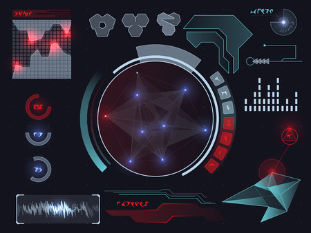 Futuristic sci-fi virtual touch user interface HUD elements