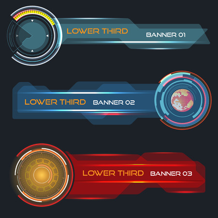 touch screen interface: Set of vector lower third modern contemporary tv bottom banners