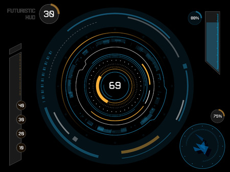 touch screen interface: Futuristic sci-fi virtual touch user interface HUD elements