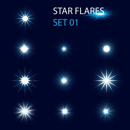 Set of different glowing star flares and magic sparks