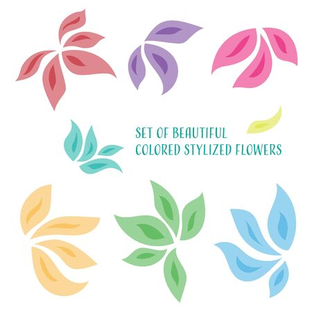 Set of beautiful colored stylized orchid flowers Vector