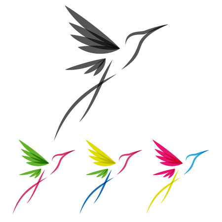 Vector Colored Stylized Tropical Hummingbirds Template for Icon Design