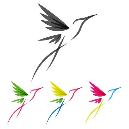 Wektor kolorowe stylizowane tropikalne Kolibry Szablon do projektowania ikon Ilustracje wektorowe