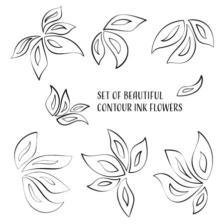 sutra: Set of beautiful contour ink orchid flowers Illustration