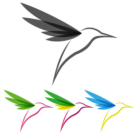 hummingbird: Vector Colored Stylized Tropical Hummingbirds