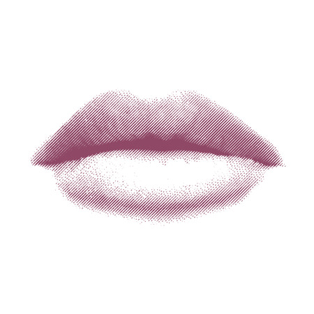 savor: Vector Illustration of Pink Etched or Engraved Lips