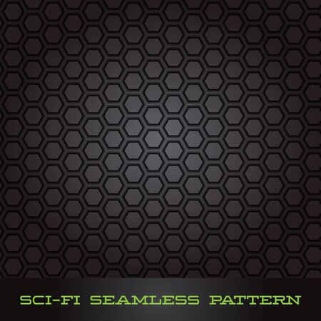 sci: Abstract Vector Sci-fi Cell Seamless Pattern for Brochures, Games, TV