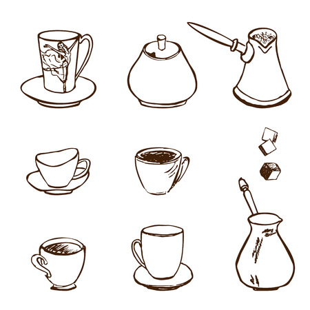 Hand Drawn Illustration Set of Coffee Accessories Icons Vector
