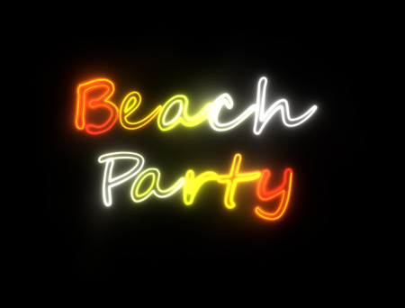 beach bar: neon shining signboard with words beach party Stock Photo