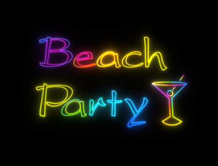 street party: neon shining signboard with words beach party and cocktail with olive Stock Photo