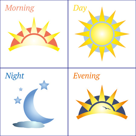 Sun and Moon morning day evening night handdrawn vector icon set Иллюстрация