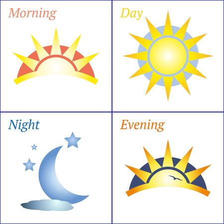 evening: Sun and Moon morning day evening night handdrawn vector icon set Illustration