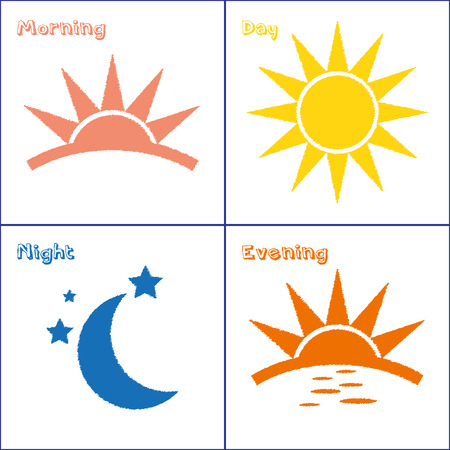 time of the day: Sun and Moon morning day evening night handdrawn vector icon set Illustration