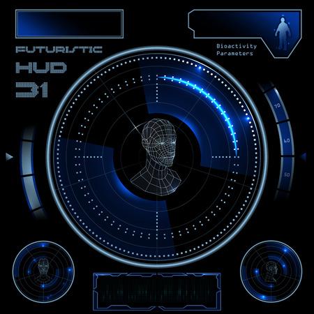 미래 공상 과학 소설 가상 터치 사용자 인터페이스 HUD 요소 일러스트