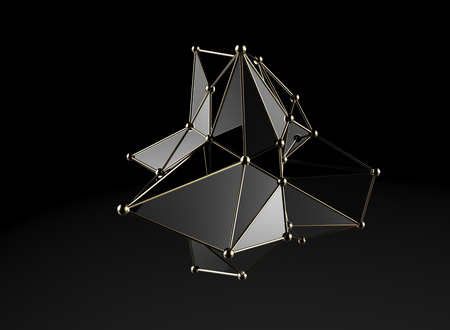 Futuristic digital abstract plexus style 3d molecule model