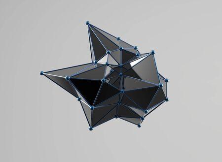 plexus: Futuristic digital abstract plexus style 3d molecule model