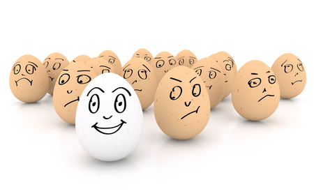 One happy smiling egg amongst sad, angry and envious crowd of eggs isolated on white background