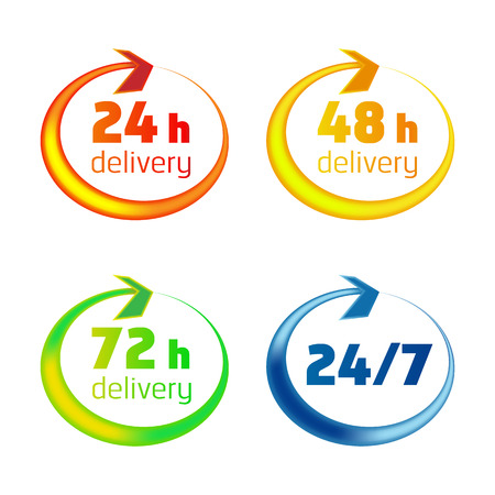 48: Open around the clock, 24, 48, 72 hours, a day icon isolated on white background. Stylized delivery icons