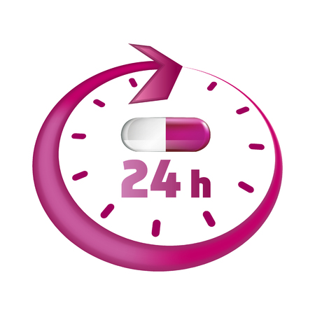 Open around the clock, 24 hours take drugs stylized vector icon