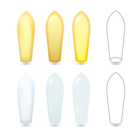 Rectal Suppositories White and Yellow Realistic Vector Illustration  イラスト・ベクター素材