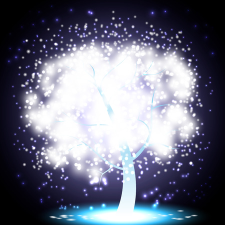 celebrate life: Mystical Glowing Christmas Tree Made of light sparkles on a blue night background