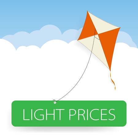 uplifting: Red and white kite over clouds attached to green web button with with an inscription light prices Illustration