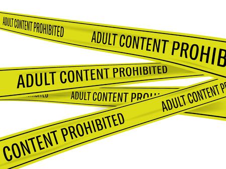 crime scene: cinta amarilla de la escena del crimen con la inscripción para detener contenido para adultos