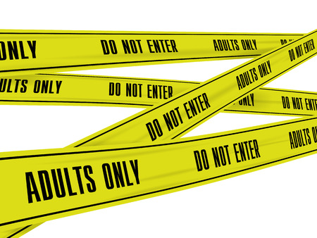 danger zone: Yellow police tape for the crime scene with the inscription to stop adult content