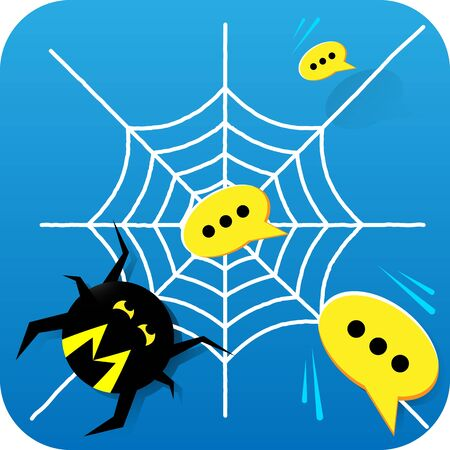 Mobile Application Icon with Cartoon Spider Catching Spam Messages into his Web