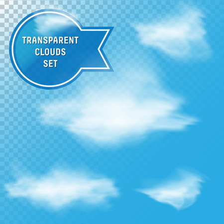 fluffy clouds: Set of different transparent scalable realistic vector fluffy clouds