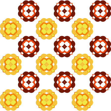 marriage bed: Vector seamless simple pattern with flowers in autumn colours, including seamles swatch