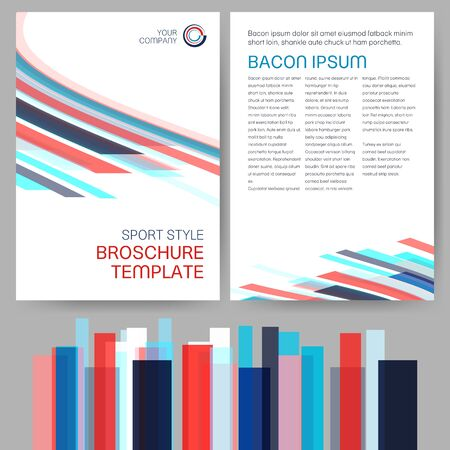 invitation barcode: Vector sport style brochure template with abstract marine color theme semitransparent lines Illustration