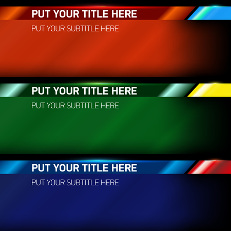 bottom: Set of vector lower third modern contemporary tv bottom banners