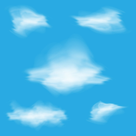 fluffy clouds: Set of different realistic fluffy clouds on the blue sky background Stock Photo