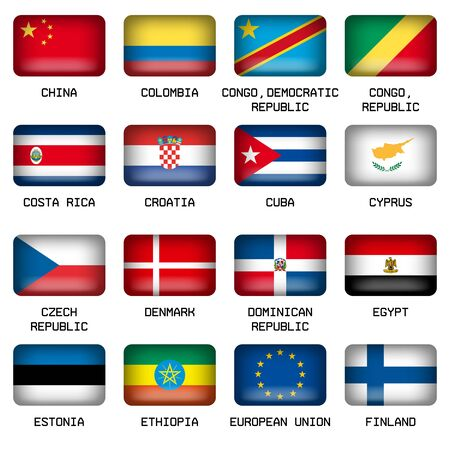 republic of colombia: Set of Vector Rectangle Pillow Button Shape Flags of the World Most States