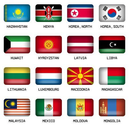 banderas del mundo: Conjunto de vector del rectángulo almohada Banderas Botón forma del mundo mayoría de los Estados