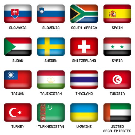 rectangle button: Set of Vector Rectangle Pillow Button Shape Flags of the World Most States