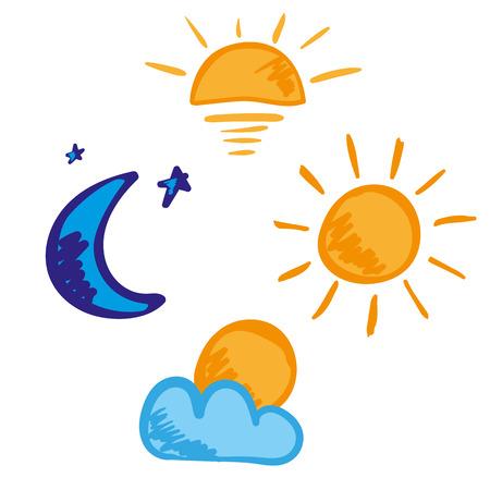 Zon en Maan ochtend dag avond nacht handgetekende vector icon set Stock Illustratie