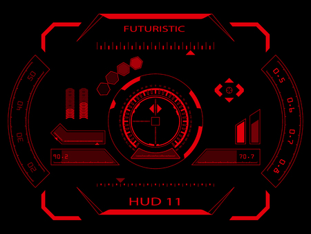 hightech: Abstract future, concept vector futuristic red virtual graphic touch user interface HUD, raster version Stock Photo