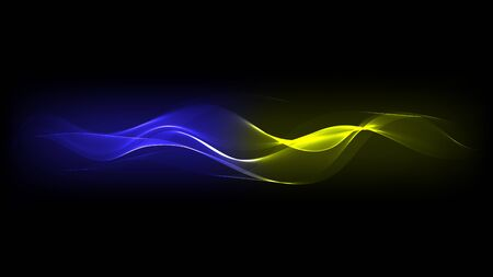 blue lines: Abstract Vector Blue and Yellow Energy Lines on Dark Background