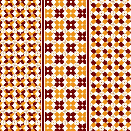 motives: Autumn Motive Seamless Vector Pattern of Abstract Leaves in Fall Colors with Pattern Swatches Included